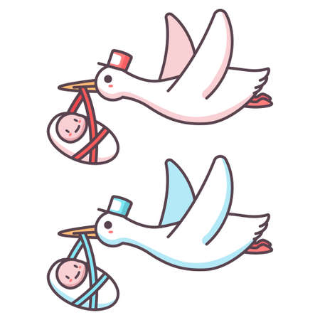 Cute cartoon stork and baby boy and girl. Vector illustration of a flying bird carrying a newborn kid isolated on a white background. 向量圖像