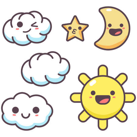 Cartoon cloud, sun, star and moon with cute emotions vector characters isolated on a white background.