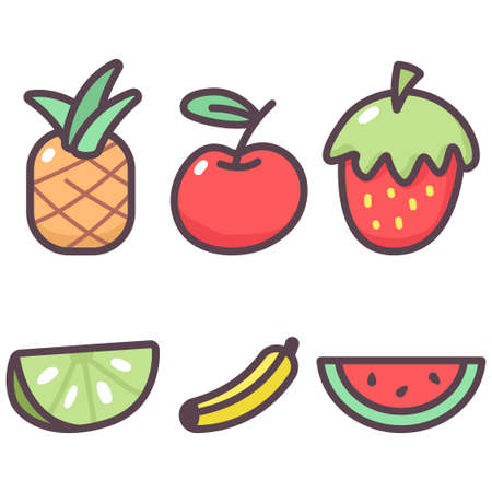 Sweet fruit vector cartoon set isolated on a white background.