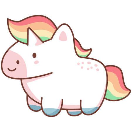 Cute kawaii unicorn with rainbow hair. Vector cartoon character isolated on a white background.