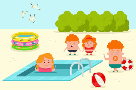 Happy family relaxing at the pool. Summer vector cartoon flat illustration of dad, mom, daughter and son on vacation. 向量圖像