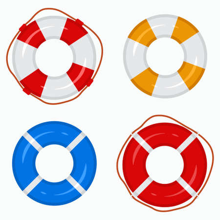 Lifebuoy ring for swimming pools, the sea, oceans, rivers, lakes. Vector icon set top view isolated on a white background. 向量圖像