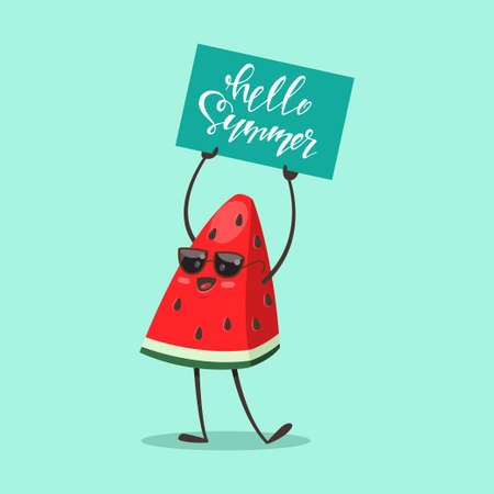 Funny Watermelon in sunglasses with a sign