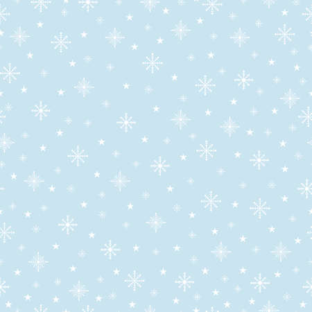 White snowflakes on a blue background. Vector seamless Christmas pattern.