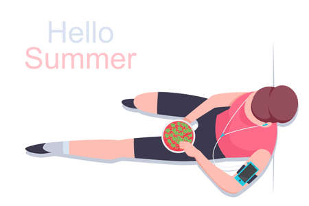 Hello summer concept illustration. Girl with headphones eating a strawberry vector flat illustration top view.