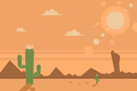 Desert scene with cacti and sun. Vector cartoon flat landscape. 向量圖像