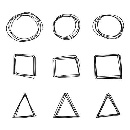 Doodle hand drawn sketch of circle, square and triangle. Vector scribble elements set isolated on white background. 向量圖像
