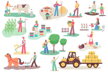 Farmers working on the farm. Men and women vector cartoon flat characters set in different actions isolated on white background. Agriculture illustration. 向量圖像