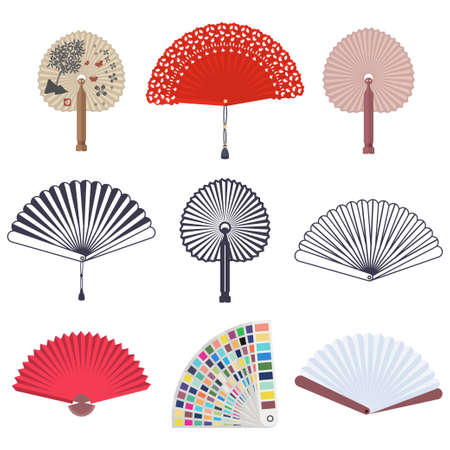 Hand Japanese and Chinese traditional fans and color guide book swatch vector flat set isolated on a white background.