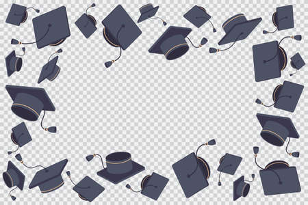 Border or frame with flying graduate cap vector cartoon illustration isolated on a transparent background.