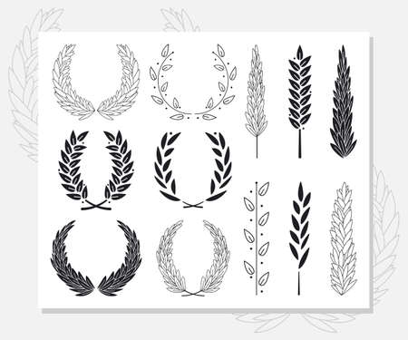 Award laurel wreaths and branch with leaves vector simple black silhouette set isolated on a white background.