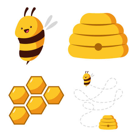 Cute bee, beehive, honeycomb with honey vector cartoon set isolated on white background.