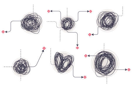 Doodle tangled knot different shapes with an arrow. Scribble messy lines vector set isolated on white background.