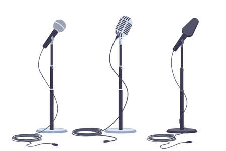 Microphones on stand vector flat set of modern and retro music audio equipment isolated on white background.