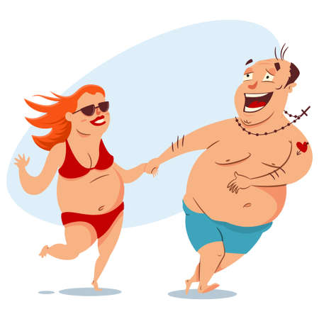 Happy fat couple on the beach in swimsuits.