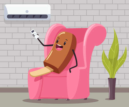 Funny ice cream with remote control of the air conditioner sits on the couch in the interior of the room. 向量圖像