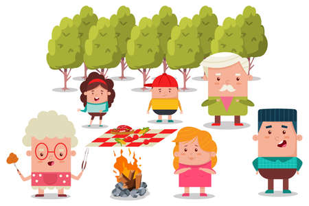 Happy family at a picnic. Barbecue flat illustration with grandfather, grandmother, mom, dad, daughter and son.