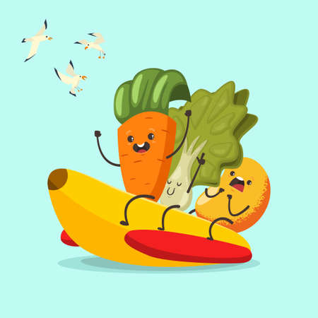 Funny Carrot, Lettuce and Mango on a banana rubber boat. 向量圖像