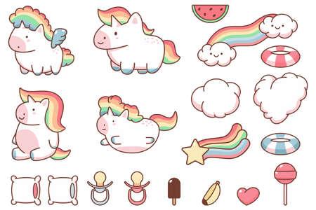 Cute kawaii unicorn and funny design elements cartoon set isolated on a white