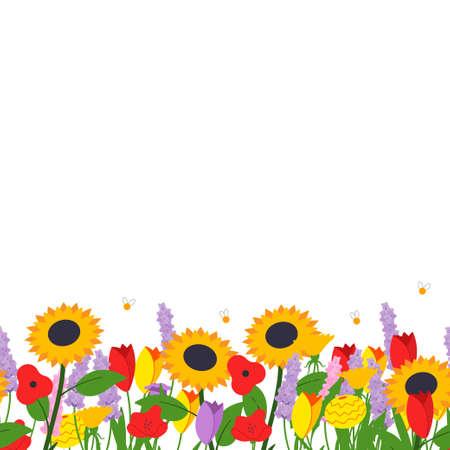 Flower border cartoon illustration on white