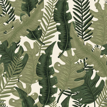 Tropical cartoon pattern with jungle leaves.