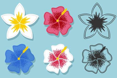 Hawaiian flower cartoon set 向量圖像