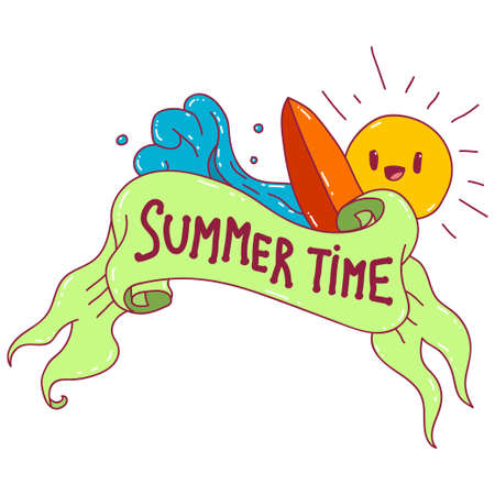 Summer time with ribbon banner cartoon