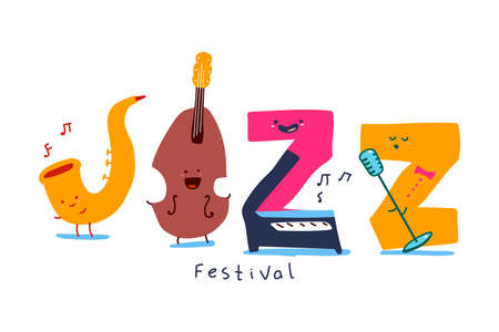 Jazz festival cartoon letter characters with different emotions