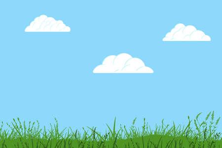 Cloud and grass cartoon 向量圖像