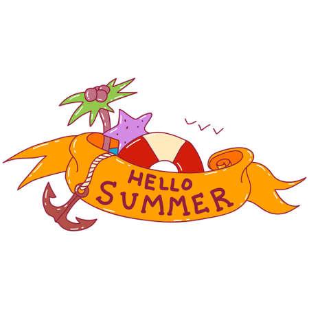 Hello summer with ribbon banner, lifebuoy, palm tree and anchor cartoon