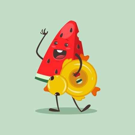 Funny Watermelon with inflatable rubber ring in duck form. Vector cartoon fruit character isolated on background. 向量圖像