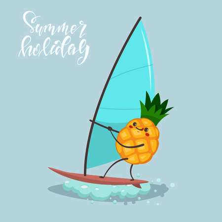Funny Pineapple on windsurfing. Vector cartoon character of cute fruit of summer water activities. Illustration of sport and healthy lifestyle. 向量圖像