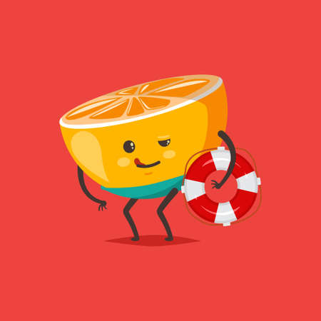 Funny Orange in swimming trunks with a life buoy. Vector cartoon fruit character isolated on background.
