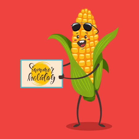 Funny Corn in sunglasses with a sign