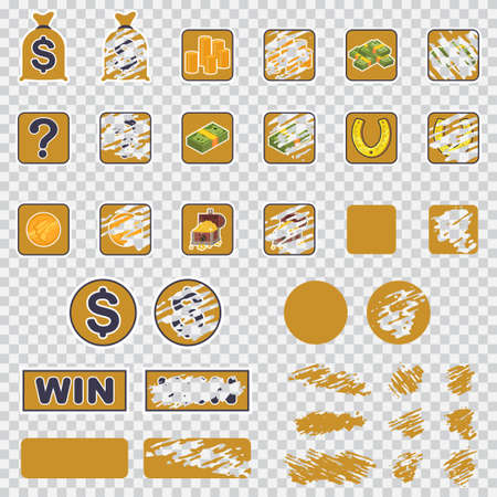 Lottery scratch card set. Winning game tickets isolated on a transparent background.