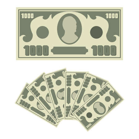 1000 dollars bill and money cash fan. Vector flat simple banknote icons isolated on white background. 向量圖像