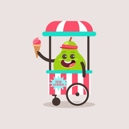 Cute Pear vendor ice cream in the cart. Vector cartoon funny fruit character isolated on background. 向量圖像