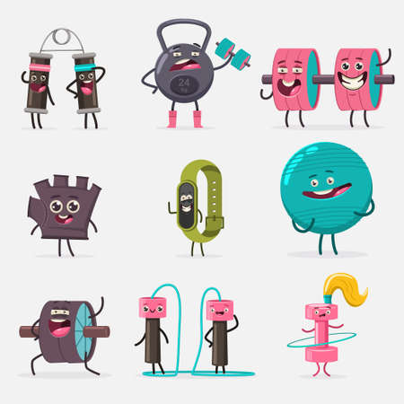 Funny fitness equipment characters doing exercises. Vector cartoon set of cute sport gym accessories isolated on white background. Concept illustration.