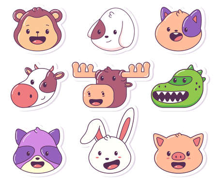 Animal head vector cartoon sticker set isolated on a white background.  イラスト・ベクター素材