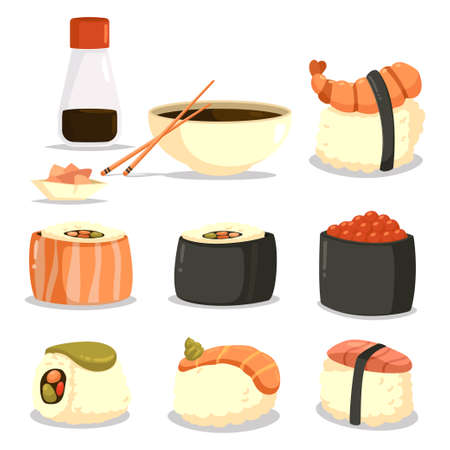 Sushi vector cartoon set of japanese food isolated on a white background.
