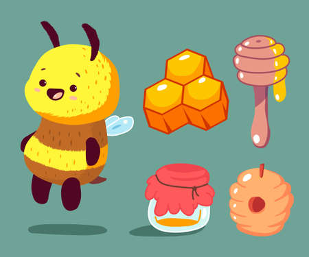 Cartoon bee with honey vector set isolated on background.