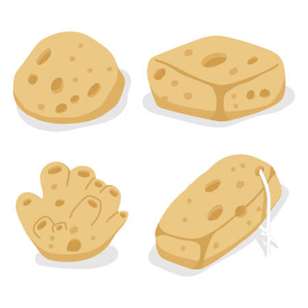 Sea sponges vector cartoon set isolated on a white background.