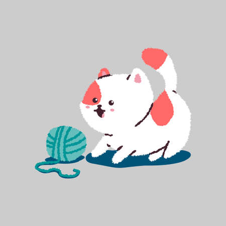 Funny cartoon cat playing with ball of thread. Vector pet character isolated on background.