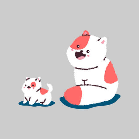 Funny cartoon cat and kitten. Vector pets character isolated on background.  イラスト・ベクター素材