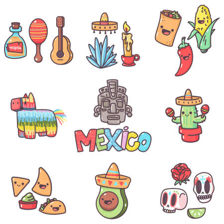 Mexican tradition elements with cute emotions for party and holidays vector cartoon set isolated on a white background.