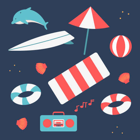 Summer simple flat elements vector set isolated on background.  イラスト・ベクター素材