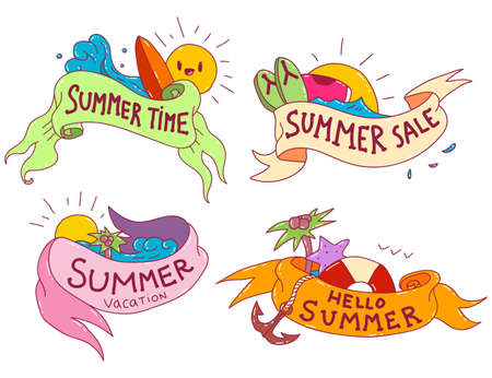 Summer ribbon banner vector cartoon set isolated on a white background.