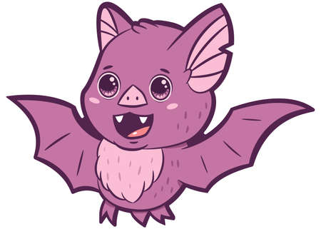 Cute vampire bat cartoon vector character isolated on a white background.  イラスト・ベクター素材