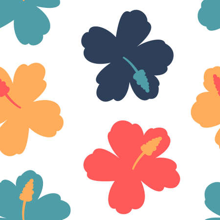 Hawaiian flower vector seamless pattern on a white background for wallpaper, wrapping, packing, and backdrop.  イラスト・ベクター素材