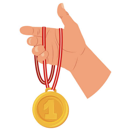Gold medal of winner in hand. Vector cartoon flat icon isolated on white background.
